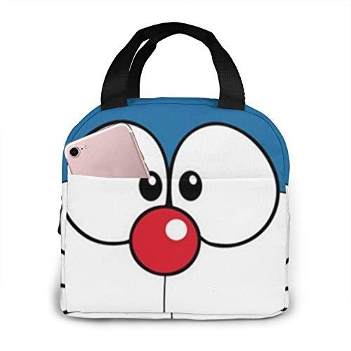 Bolsa de almuerzo portátil Doraemon Smile Bolsa de almuerzo aislada reutilizable Caja de asas más fría con bolsillo frontal Cierre de cremallera para mujer Hombre Trabajo
