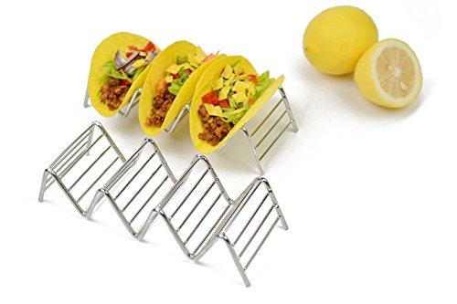 Sostegno per tacos, supporto in acciaio INOX Hapway per tacos cibo messicano gusci di tacos morbidi o duri., Acciaio inossidabile, 4 Stack Holder