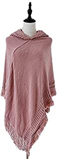 WUNONG-AU Hooded Cape Shawl Monochrome Autumn Winter Knitted Pullover Head Fashion Keep Warm Big Shawl (Color : Pink, Size : 135-175CM)