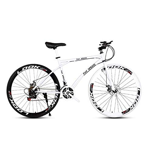 LRHD Men's and Women's Road Bicycles, 24-Speed 26-inch Bicycles, Adult-only, High Carbon Steel Frame, Road Bicycle Racing, Wheeled Road Bicycle Double Disc Brake Bicycle (White) (Size : L)