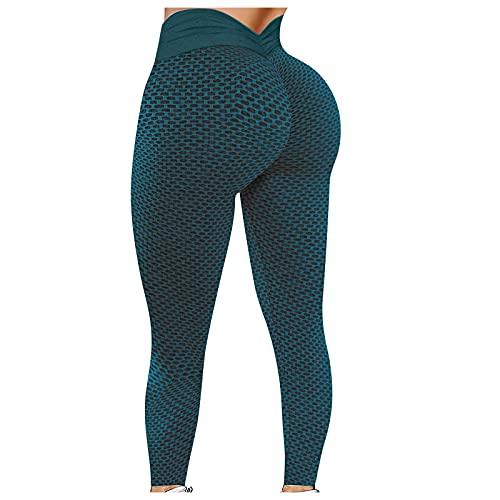 Leggins Mujer Push Up Cintura Alta Deportivos, Verano Panralones de Yoga Mujers Talla Grande Deporte para Levantamiento de Glúteos Medias de Color Entrenamiento Elásticos Transpirable Fitness