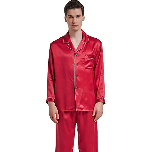 Men's Silk Pajamas Suit, Real 100% Mulberry Silk Comfortable Nightwear, Silk Satin Sleepwear 4/5 Sleeve and Trousers Two-Piece Suit,for All Seasons,Red,XL