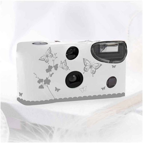 Weddingstar 5505-77 Butterfly Garden White And Silver Single Use Camera