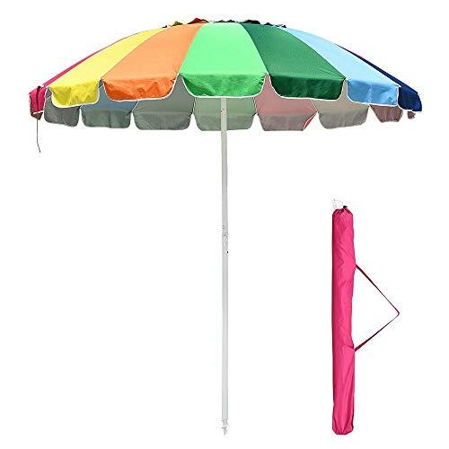 8' Rainbow Umbrella Patio Outdoor Sunshade 16Ribs Crank Tilt UV Block Beach Pool