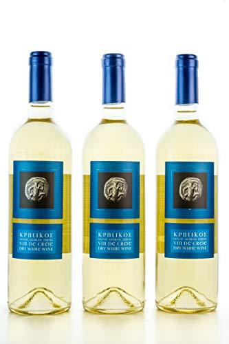 3x 750ml Vin de Crete Weißwein trocken 12% Michalakis kretischer weißer Wein griechischer Tafelwein im 3er Set + 10ml Olivenöl zum testen