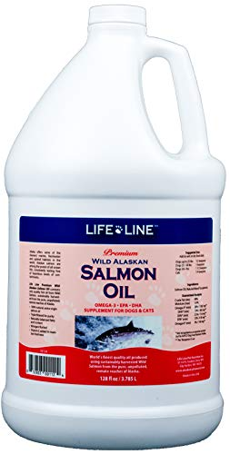 Life Line Pet Nutrition Wild Alaskan Salmon Oil Omega-3 Supplement for Skin & Coat – Supports Brain, Eye & Heart Health in Dogs & Cats, 128 oz