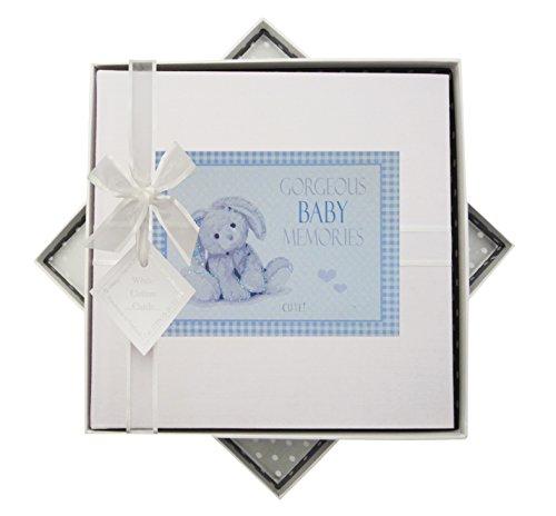 White Cotton Cards Album Photo de bébé, Medium, Bleu, Lapin, Tissu, Blanc, 23 x 23 x 5 cm