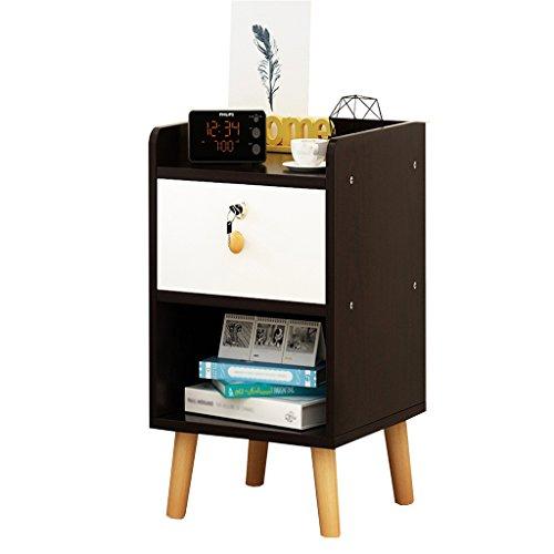 Jia He Table de Chevet Table de Chevet - Blanc/Noir MDF Production Locker Salon Chambre Mini 1/2 Layer Lock Design Lock [6 Styles et 4 Tailles] (Color : C, Size : 40 * 39 * 53CM)