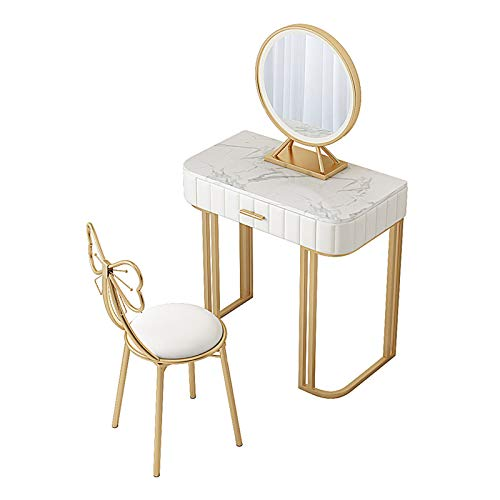 MYAOU Kommode für Schlafzimmer Led Lichter Spiegel Schminktische mit Schmetterling gepolsterten Hocker Weiß Schminktisch mit 2 Schubladen Geschenke für Mädchen