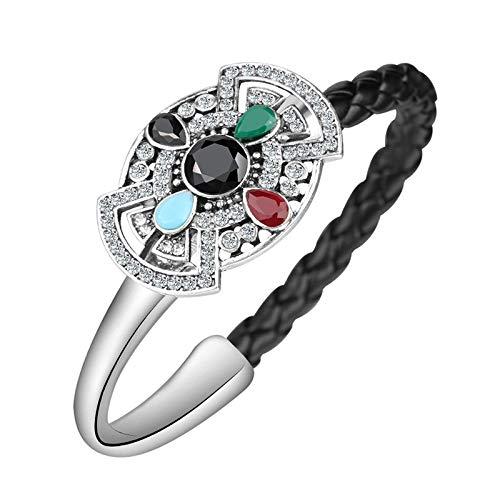 Pulsera bohemia para mujer de plata de cuero negro cuerda tejida de cristal pulsera de joyería vintage MULTI