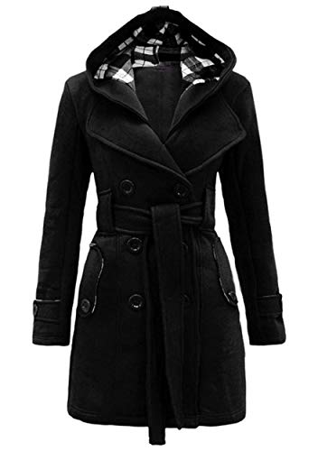 ZICUE Womens Belted Lapel Double Breasted Peacoats Mid-Long Wool Blend Coat with Hood Black XL