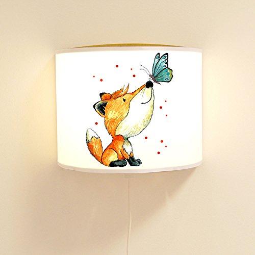 Wandtattoo-welt® Lese Lampe Murale pour Chambre d'enfant avec Lampe de Renard et Papillon