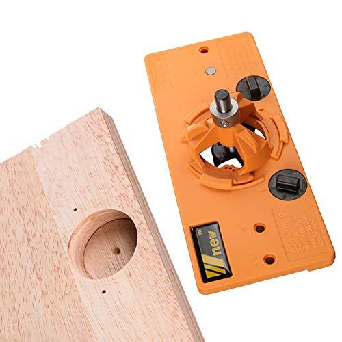 APROTII Guía de perforación oculta de 35 mm para taladro + broca Forstner cortador de madera, carpintero, carpintería, herramientas de bricolaje