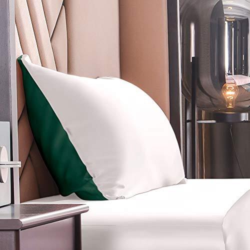 THXSILK Seide Kissenbezug 19 Momme mit Reißverschluss, Beide Seiten Natürliche Maulbeerseide Seidenbezug für Kissen, Haar und Haut Pflege (Smaragdgrün+Weiß, 40x80cm)