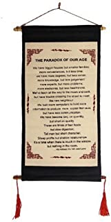 Tara Imports Dalai Lama Quotes ~ Cotton Canvas Scroll ~ The Paradox of Our Age ~ Natural White Color