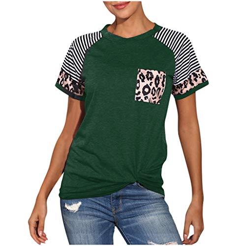 MRULIC Damen Sommerbluse Kurzarm Rundhals Leopard T-Shirt Gestreift Streifen Tunika Sommer Pullover LäSsige Lose Basic Tops Mit Tasche(Grün,M)