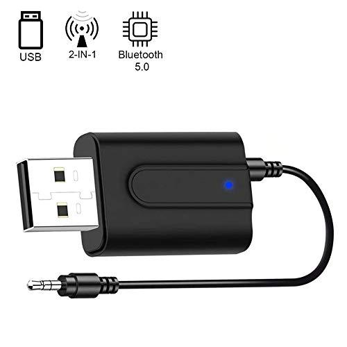 GNNMOY Adattatore Bluetooth USB, USB Trasmettitore Ricevitore Bluetooth 5.0 2 in 1 Adattatore con 3.5mm AUX Wireless Bluetooth Adattatore Audio per TV