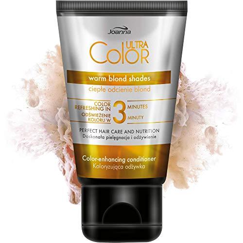Joanna Ultra Color 3 Minuten regenerierende Haarspülung Haartönung Conditioner mit der Wirkung warmes Blond Blondtöne 100ml Beige Reflexen Anti Gelb für grau gebleichtes und blondes Haar