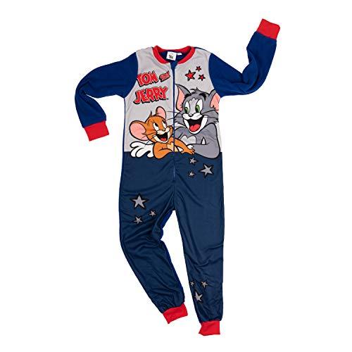 Tom und Jerry – Jungen Jumpsuit, Kinder Overall Einteiler Onsie Schlafanzug (134/140)