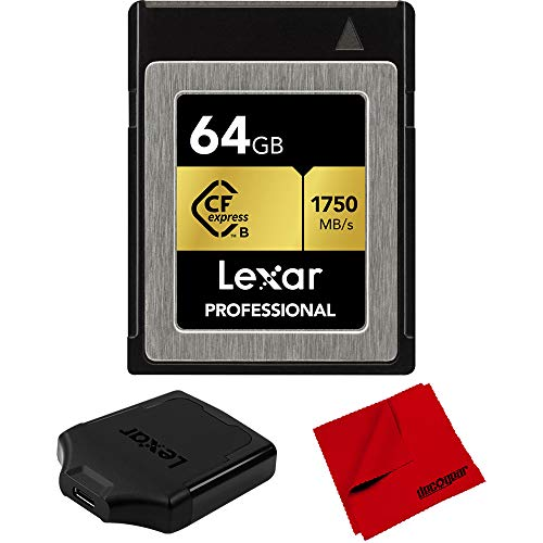 Lexar LCFX10-64GCRBNA Professional CFexpress Type B 64 GB Memory Card Bundle Professional CFexpress Type B USB 3.1 Reader and Deco Gear 6 x 6 inch Microfiber Cleaning Cloth