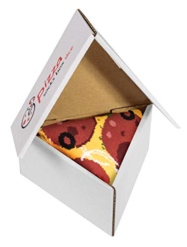 Pizza Socks Box Slice - Pepperoni - Damen Herren Pizza Socken 1 Paar - Größen 41-46