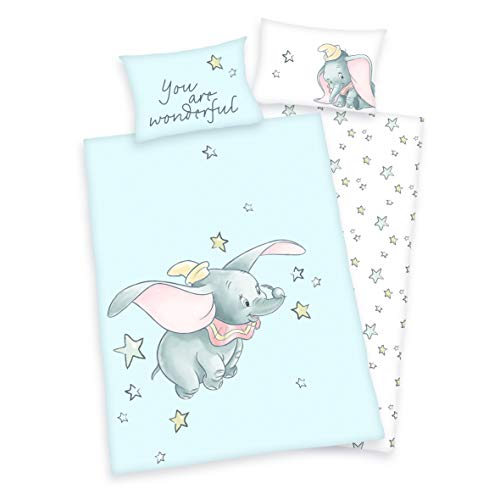 3 tlg. Baby/Kinder Bettwäsche Motiv: Dumbo - renforcé 100x135 cm + 40x60 cm + 1 Spannbettlaken 70x140 cm - 100% Baumwolle (You are wonderful)