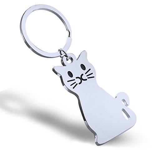 Elegantflower キーホルダー キーリング 猫 ねこ シンプル メタル シルバー ペンダントトップ しっぽ 揺れる チャーム