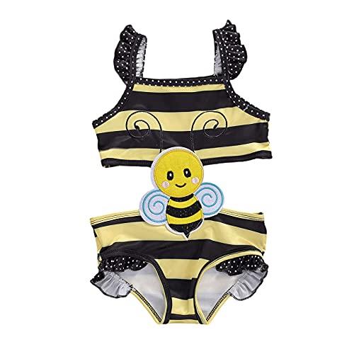 Costume da Bagno Intero Bambina Ragazza Estivo Senza Maniche Senza Schienale Baby Girl Monopezzo Ricamati Tute Swimsuit Modello Carino Mare Spiaggia Piscina