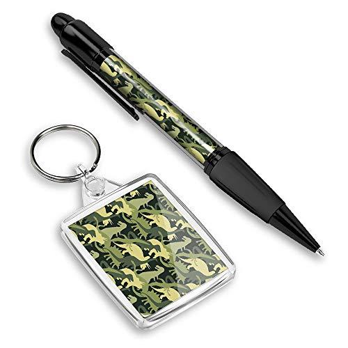 Hermoso y cómodo bolígrafo con una imagen y elegante llavero (Rectángulo) para las llaves - Dinosaurios verdes Camo Dinosaur #14451