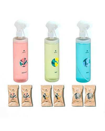 KLAENY® Starter-Set Nachhaltige Putzmitteltabs 2x Badreiniger, 2x Allzweckreiniger, 2x Glasreiniger inklusive 3 Sprühflaschen aus 100% recycelt