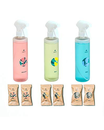 KLAENY ® Starter-Set Nachhaltige Putzmitteltabs 2x Badreiniger ecotab, 2x Allzweckreiniger ecotab, 2x Glasreiniger ecotab inklusive 3 Sprühflaschen aus 100% recyceltem Kunststoff (Starter-Set)