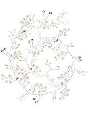 Cerchietto per capelli da donna, con perle, foglie, foglie, matrimonio, sposa, oro e argento