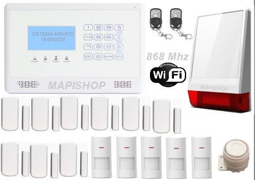 Mapishop FLORENCE 868 Mhz Antifurto Allarme Casa Kit nuovo modello 2020, Con INTERNET wifi , Combinatore GSM app Gratuita ios/android, COMPLETAMENTE CONFIGURATO