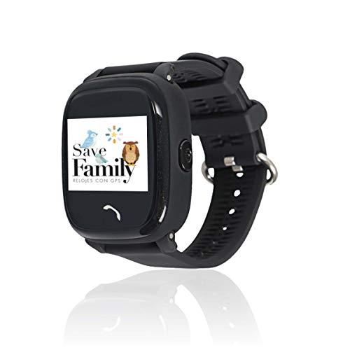 Reloj con GPS para niños SaveFamily Infantil Completo Acuático IP67. Smartwatch con Botón SOS, Anti-Bullying, Chat Privado, Modo Colegio, Llamadas y Mensajes. App SaveFamily. Incluye Cargador. Negro.