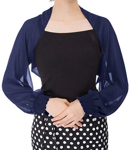 Women Sheer Bolero Chiffon Shrug Beach Thin Cardigan, Navy Blue, S