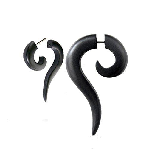 Chic-Net Tribal Spiral Earring Sono madera alargada punta Fake negro