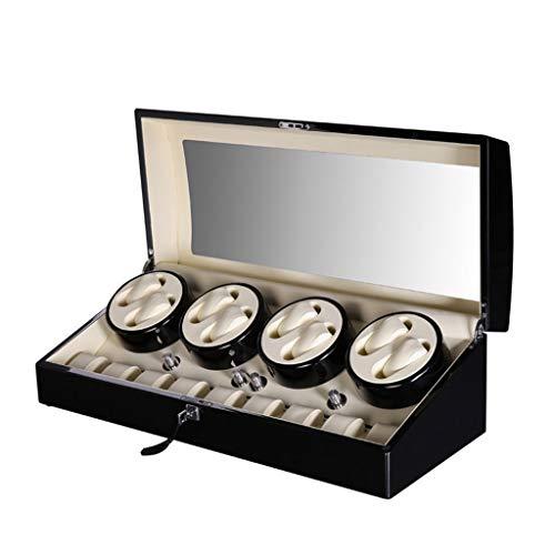 Caja automática de lujo para relojes de madera de lujo para 8 relojes de pulsera + 9 cajas de almacenamiento [100% hechas a mano] (color: negro, tamaño: 70,8 x 33 x 32 cm)