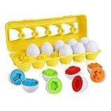 Dreamparkモンテッソーリ教育玩具 子供のおもちゃ人気 イースター マッチング卵 おもちゃ はめこみ 形合わせ 玩具6歳以上  6カラーシェイプ&12野菜と果物 マッチングエッグセット 色と形の認識 男の子の女の子 入園祝い お誕生日プレゼント 卵12個  (形状)