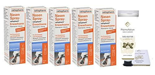 Nasenspray ratiopharm Sparset 5 x 15 ml und einer Handcreme ODER Handseife der Marke Pharma Nature