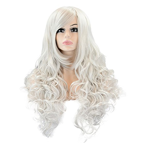 EDENKISS Women's Fashion Colorful Harajuku Lolita Style Long&Short Hair Replacement Curly&Straight Full Head Wigs With Simulation Scalp Cosplay Costume Party Hairpiece (LC115 / Silver Grey)