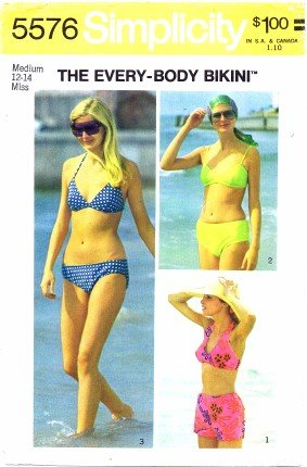 Simplicity 5576 Sewing Pattern Misses Set of Bikinis Swimsuits Size 12-14 - Bust 34-36