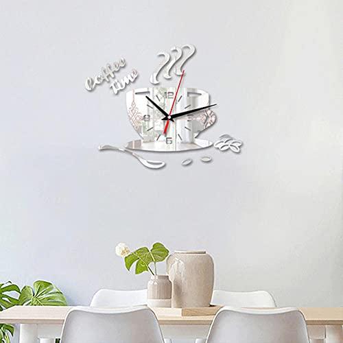 Reloj de Pared de Bricolaje,Acrílico Moderno del Reloj de la Hora del Café 3D,Decoración del Hogar de la Cocina Etiqueta de la Pared con Forma de Taza Reloj Numérico Hueco