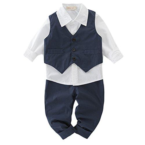 Zhhlinyuan Newborn Fashion Little Boy Vest + Shirt + Pants Three-Piece Gentleman Set