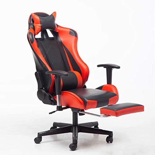 Gamerstoel met Voetensteun, Ergonomische Computerstoel met Lendensteun, Verstelbare Gaming-Stoel voor Volwassenen