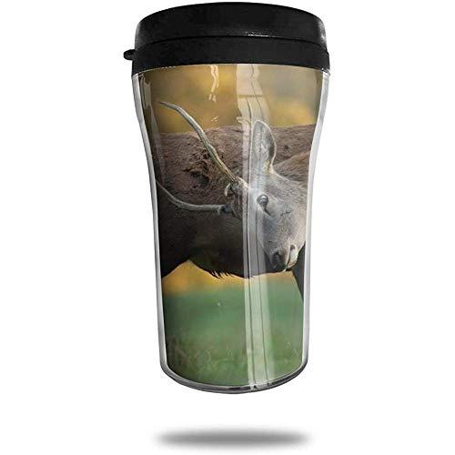 Rotwild-hoorns-reiskoffiemok bedrukte draagbare zuignap, geïsoleerde thee-schaal-water-fles-beker voor het drinken