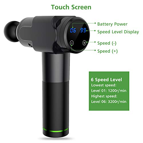 41KwUoOF1yL - Pistola de masaje muscular, masajeador muscular manual de tejido profundo, masajeador de percusión ultra silencioso con 6 cabezales de masaje y pantalla LCD