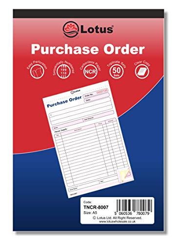 TNCR-8007 Libro de pedidos triplicado NCR, A5 (143 x 210 mm), libro de compras triplicado, 3 partes sin carbón, color azul y rojo A5 (143 x 210)