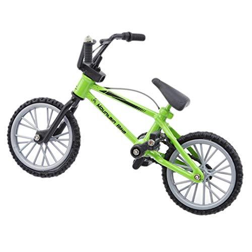 Underleaf Mini Alloy Finger Bikes Functional Finger Mountain Bike BMX Fixed Bicycle Novelty Toys Game for Kids Boys Girls,Green