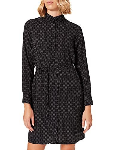 VERO MODA Damen VMSAGA LS ABK Collar Shirt Dress WVN GA Kleid, Black/AOP:KIRA, S