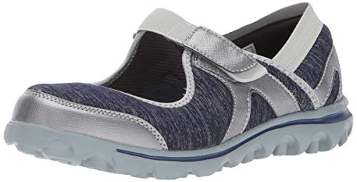 Propet Women's Onalee Mary Jane Flat, Blue/Silver, 11 X-Wide